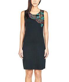 Look what I found on #zulily! Black & Turquoise Geo Shift Dress #zulilyfinds
