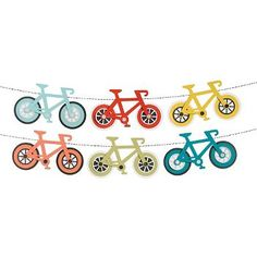 Calling all bike lovers! This adorable bike garland kit is the perfect addition to any party or decor theme. Display these bikes on a garland, use them for party décor or incorporate into your Bicycle Birthday Parties, Bicycle Party, Bicycle Wedding, 2nd Birthday Parties, Birthday Party Invitations, Boy Baby Shower Themes, Baby Boy Shower, Triathlon Ironman, Ideas Decoracion Cumpleaños