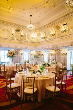 Classic Romantic Wedding at The Blackstone Hotel Ballroom  Classic Chicago, Chicago Wedding Venue, Blush, Gold