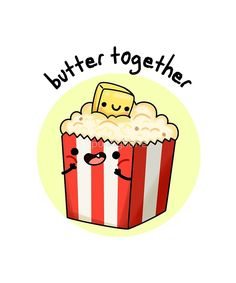'Butter Together Food Pun' Sticker by punnybone - Haily Funny Food Puns, Punny Puns, Cute Jokes, Cute Puns, Food Humor, Funny Cute, Food Meme, Food Food, Cute Food Drawings