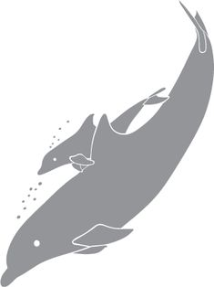 Glass etching stencil of Dolphin Mother and Baby. In category: Fish & Marine