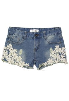 Crochet Detail Denim Cutoff Shorts - Bottoms  I wish I wore jean shorts so I could wear these!