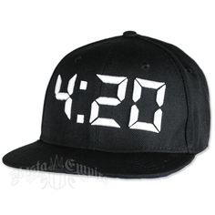 Put your favorite time of day on display with this black flat-brimmed cap featuring a white, raised embroidered 4:20 on the front panel. There is a snap adjustable closure on the back. One size fits most.