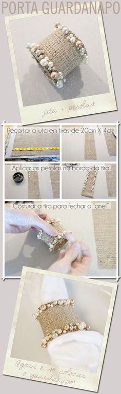 Make your own shabby chic napkin rings. Burlap Crafts, Diy And Crafts, Ideias Diy, Napkin Folding, Napkin Rings, Diy Wedding, Napkins, Wedding Decorations, Shabby Chic