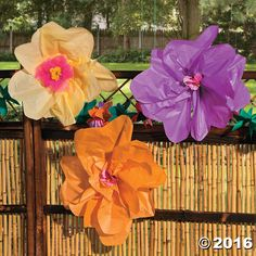 Decorating for your luau is easy with these DIY Tissue Paper Flowers! Your bash will blossom when you tie these easy party decorations onto fences, chairs, . Luau Party Decorations, Flower Decorations, Reunion Decorations, Dance Decorations, House Decorations, Tissue Paper Flowers, Paper Flower Backdrop, Paper Roses, Hawaian Party