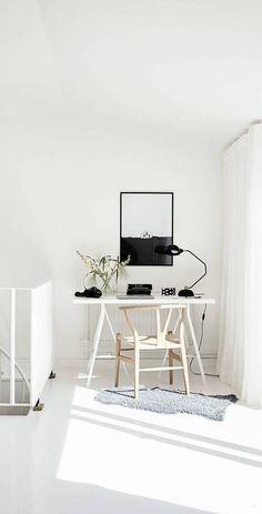 Lonely House print by Coco Lapine in a styling by Grey Deco, photographed by Jonas Berg for Stadshem Arbeitszimmer Zuhause Home Office Space, Home Office Design, Workspace Inspiration, Interior Inspiration, Chair Design Wooden, Interior Exterior, Farmhouse Interior, Minimalist Home, Interiores Design