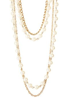 $32.00  50% off MSRP Today Only!  Pearl & Chain Layered Necklace by Day to Night: Jewelry Event on @HauteLook