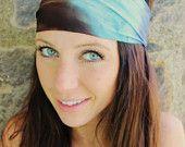 Manda Bee's Perfect Stretch Yoga / Beach Hippie Headband Blue Brown Tie Dye