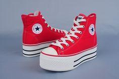platform converse red Platform Converse, Red Platform, Platform Sneakers, Red Sneakers, Chuck Taylor Sneakers, High Top Sneakers, Red Converse, Shoes Heels, Pumps