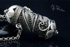 My Precious - Fine silver filigree pendant