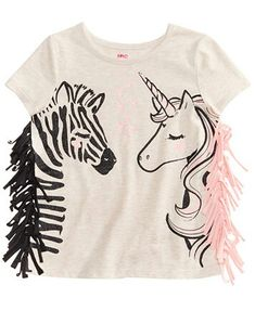 Epic Threads Zebra & Unicorn Graphic-Print T-Shirt, Little Girls, Created for Macy's - Shirts & Tees - Kids & Baby - Macy's Kids Outfits, Cute Outfits, T Shirt Outfits, Toddler Outfits, Unicorn Graphic, Diy Vetement, Unicorn Shirt, Unicorn Outfit, Little Girl Fashion