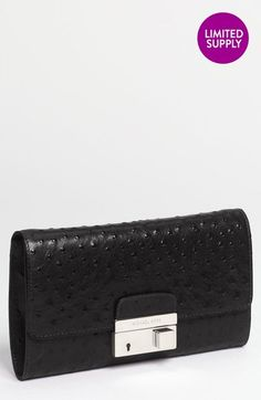Gia Ostrich Embossed Leather Clutch - Lyst