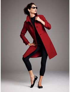 "Love the red coat! Love this particular shade of red. The deep muted red works like another ""neutral"" for any closet...would add sophistication and ""wow"" to anything you wear it with."