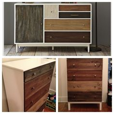 Above: Inspiration, West Elm, $1,099. Below: Result, IKEA Tarva chest + Home Depot (paint, stain, knobs, poly)