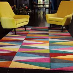 Funk Triangles Rugs are one of the finest collections of wool rugs with a vibrant multi coloured triangle design with up to 38 different colours. #Interiors #Decor