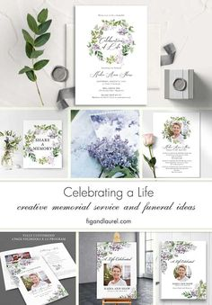 Watercolor lilacs create an elegant celebration of life for a life well lived. We offer funeral guest books, welcome signs and more