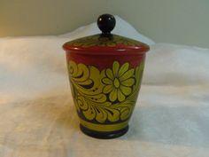 Bol en bois Khokhloma Vintage soviétique avec couvercle, pot en bois avec couvercle, motif russe Folk Art, à la main peint