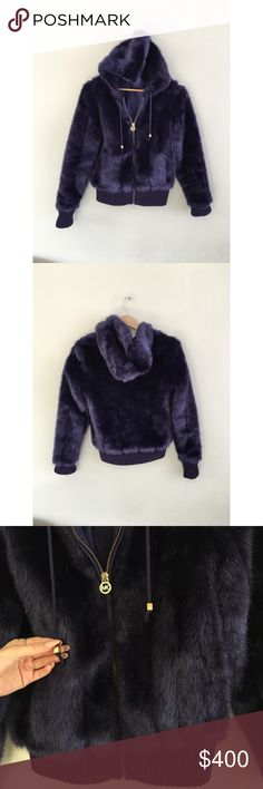 Michael Kors purple faux fur hoodie bomber jacket (❁´◡`❁) ωḙℓḉ✺Պḙ (❁´◡`❁)   Description:  •Gorgeous deep eggplant purple faux fur • Zip up • Hoodie with logo embossed adjustable tie pulls •Hits right at top of hips (depending on height and torso length)    ❤️   Brand: Michael Kors    Size: 2 US women's    Condition: Minimally worn. No holes or stains. Has some fuzzies on cotton trimmings and hem.   (please refer to all photos Don't hesitate to ask ANY and ALL question before Bidding/Buying)…