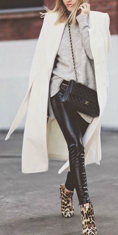 #fall #fashion / monochrome + leopard print booties