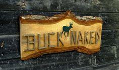 BUCK NAKED Deer Hunting Sign, Rustic Decor, Wooden Sign with Twig Lettering, Bathroom Decor, Camp Cabin Deer Hunter Decor