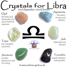 Crystal set of birthstones for October and the zodiac star sign Libra, made by Rainbow Spirit Crystal Shop Crystals Minerals, Crystals And Gemstones, Stones And Crystals, Gem Stones, Signo Libra, Crystal Healing Stones, Spiritus, Crystal Shop, Jade Crystal