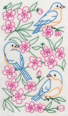 Vintage Embroidery Designs Machine Embroidery Designs but used to hand embroidery Bird Embroidery, Simple Embroidery, Embroidery Transfers, Hand Embroidery Patterns, Vintage Embroidery, Cross Stitch Embroidery, Machine Embroidery Designs, Embroidery Sampler, Modern Embroidery