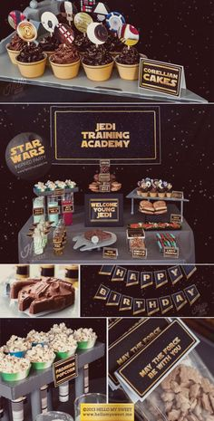 Star Wars Party - Classic Saga Printable Birthday Party Decorations - Gold Yellow Black - COMPLETE SET. $25.00, via Etsy. (star wars party food)