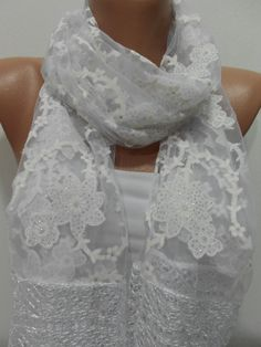 White Floral Scarf Shawl Laced Cowl Scarf White Weddings Scarf Shimmer Sparkle Scarf Fashion Accessories Trending items Gift ideas For Her