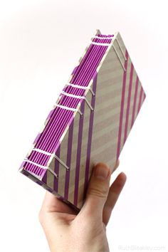 Purple Striped Journal with Washi Tape Covers handmade by Ruth Bleakley
