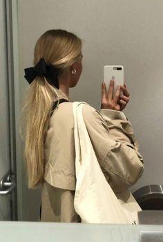 Cream bow half up hair style Blonde Haare Make-up, Blonde Hair, Up Hairstyles, Pretty Hairstyles, Female Hairstyles, Hair Inspo, Hair Inspiration, Aesthetic Hair, Dyed Hair