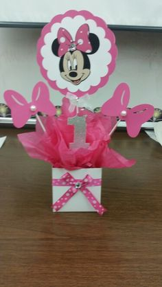 Made this cute Minnie Mouse centerpiece using my Cricut....LOVE this machine!