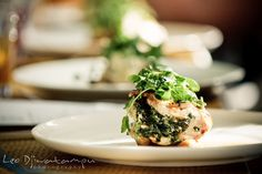 Wedding entree  breast of chicken stuffed with spinach and boursin, roasted, fingerling potatoes and herb pan gravy…