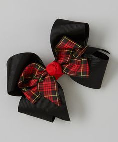 This Red & Black Double-Layered Hair Bow Clip is perfect! #zulilyfinds