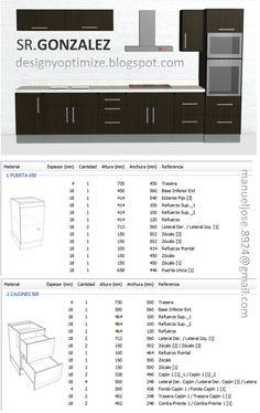 Diseños De Muebles: Armarios, Cocinas, Bibliotecas, Etc.: Construcción De Cocina Modular Planos y Lista de Piezas 2D y 3D