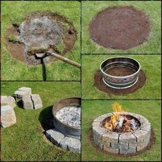 5 Simple and Crazy Ideas: Fire Pit Furniture Tutorials flagstone fire pit design… - My Gardening Tips 2019 Fire Pit Decor, Diy Fire Pit, Fire Pit Backyard, Paver Fire Pit, Cinder Block Fire Pit, Fire Pits, Outdoor Kitchen Design, Patio Design, Design Design