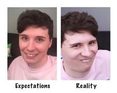 Expectations vs reality smiling  Dan Howell and Phil Lester Face app