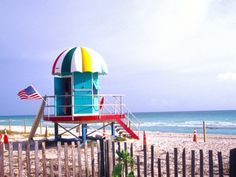Life Guard Station, South Beach, Miami, Florida, USA Photographic Print by Terry Eggers at Art.com