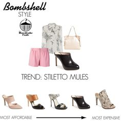 Bombshell: Trend - Stiletto Mules by nicole-longstreath on Polyvore featuring Whit, Moschino Cheap & Chic, Ateljé 71, Sam Edelman, MICHAEL Michael Kors, Louise et Cie and Jessica Simpson
