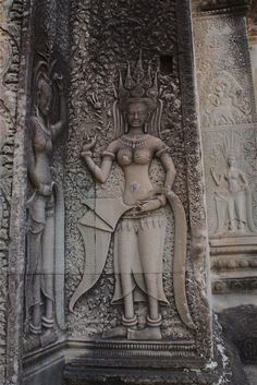 Apsaras and Devatas bas reliefs or carvings in Angkor Wat, Cambodia