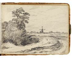 The windmill sketch 1814 by John Constable Victoria and Albert Museum Landscape Sketch, Landscape Drawings, Landscape Paintings, Moleskine, Easy Drawings, Pencil Drawings, Artist Sketchbook, Sketchbook Inspiration, Drawing Sketches