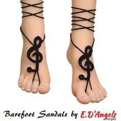 Barefoot sandals barefoot sandle TREBLE CLEF by LassCrochet
