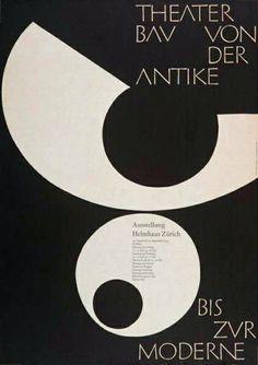 Plakat Austellung Helmhaus Zürich   Theaterbau von der Antike bis zur Moderne   designet af Armin Hofmann i 1955