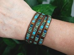 Tila Beaded Leather Wrap Turquoise Bronze Miyuki by PJsPrettys