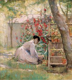 Robert Reid (American 1862–1929) {Impressionism, Muralist] Tending the Garden.