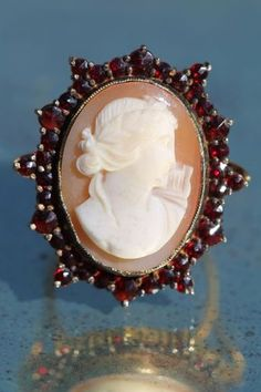 Vintage Gold Washed 900 Sterling Silver Bohemian Garnet Shell Artemis Cameo Ring