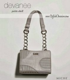 Devanee Petite Shell / Premium Pricing  Sophisticated, yet fun-loving, medium-grey Devanee for Petite Miche bags is a delightful addition to your collection.   Unique abstract design features perforated piercings, laser-cut to perfection, along with solid faux leather detail.