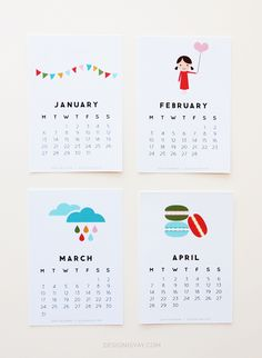 Free Printable Desk Calendars via So Fawned