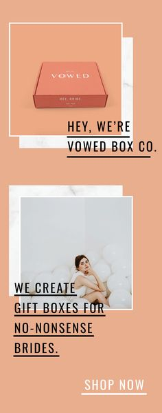 Hey, we're Vowed Box Co. We create no-nonsense gift boxes for no-nonsense brides! Get on our waitlist for product updates. | Vowed Box Co., wedding inspiration, non-traditional bride, wedding gifts, bride gifts, subscription box