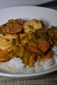 Smothered Okra with Sausage & Shrimp - Coop Can Cook - Cynthia Moore - African Food Creole Recipes, Cajun Recipes, Sausage Recipes, Seafood Recipes, Dinner Recipes, Cooking Recipes, Healthy Recipes, Haitian Recipes, Dinner Ideas