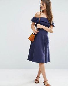 ASOS | ASOS Off Shoulder Dress in Natural Fibre